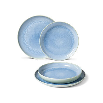 Crafted Blueberry set de mesa, turquesa, 4 piezas