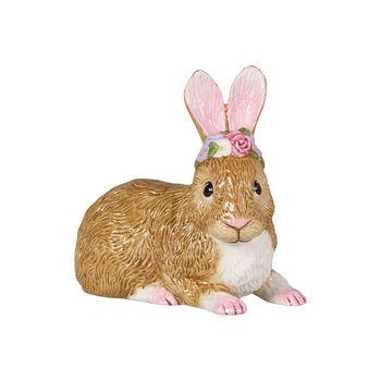 Easter Bunnies Coniglietto gran steso c ghirlanda fiori 13x8x13cm