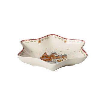 Winter Bakery Delight ciotola a stella media, motivo villaggio di pan di zenzero, rosso/multicolore, 24,5 cm
