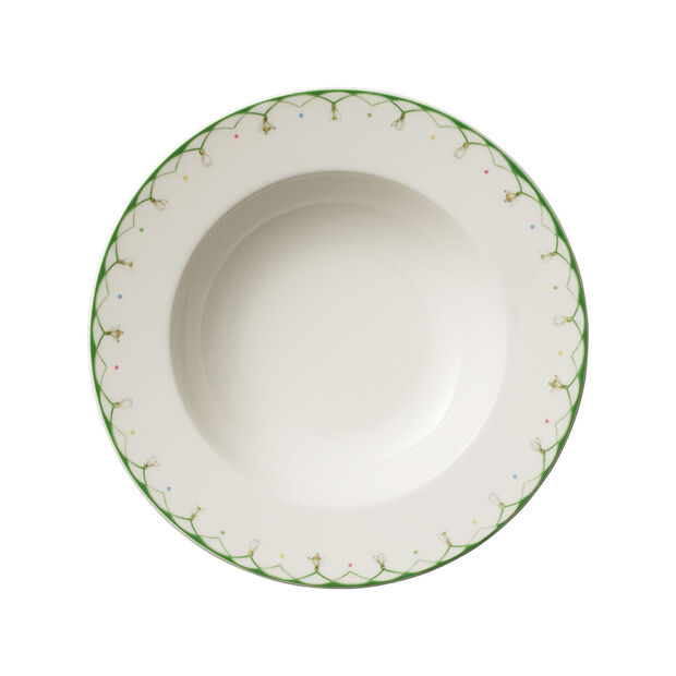 Colourful Spring plato hondo, 25 cm, 456 ml, blanco/verde, , large