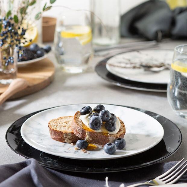 Marmory set de platos, 4 unidades, para dos personas, negro/blanco, , large