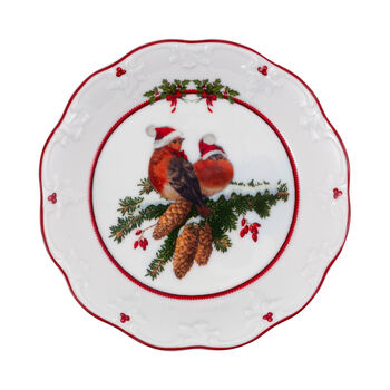 Toy's Fantasy fuente pequeña con motivo de pájaros, varios colores/rojo/blanco, 17 x 17 x 3 cm