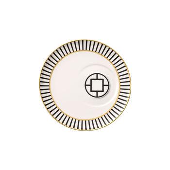 MetroChic piattino per tazza da caffè, diametro 18,5 cm, bianco-nero-oro