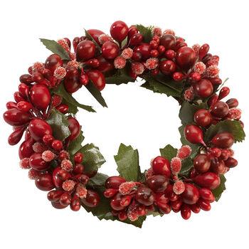 Winter Collage Accessoires Anello di candele bacche rosse 10cm