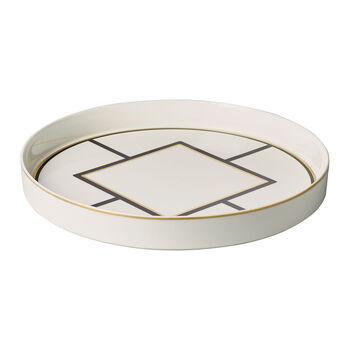 MetroChic ciotola decorativa ed a portata, diametro 33 cm, profondità 4 cm, bianco-nero oro