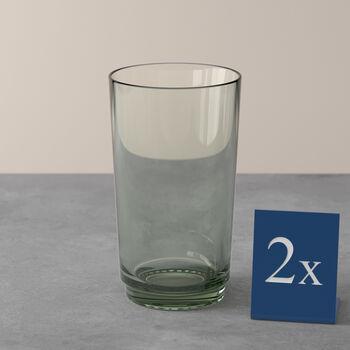 like.by Villeroy & Boch it's my match set di bicchieri da long drink, serie Mineral, verde, 8 x 14 cm, 2 pezzi