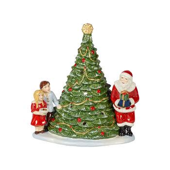 Christmas Toy's figura con motivo de Papá Noel junto al árbol de Navidad, verde/varios colores, 20 x 17 x 23 cm