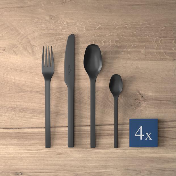 Cubertería de mesa Manufacture Rock, para 4 personas, 16 piezas, negro, , large