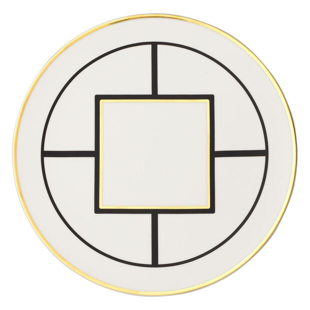 MetroChic piatto segnaposto e piatto da torta, diametro 33 cm, bianco-nero-oro, , large