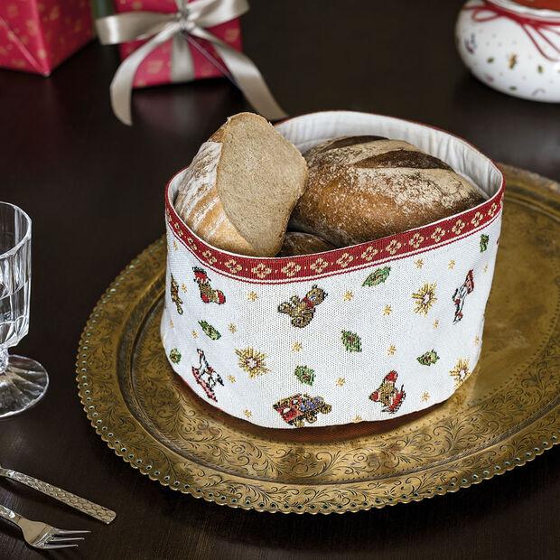 Toy's Delight cestino gobelin per pane, rosso/multicolore, 15 x 23 cm, , large