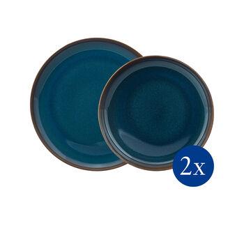 Crafted Denim set de mesa, azul, 4 artículos