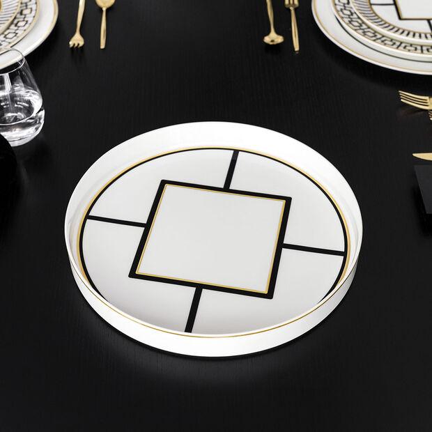 MetroChic ciotola decorativa ed a portata, diametro 33 cm, profondità 4 cm, bianco-nero oro, , large