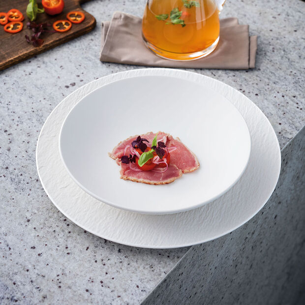 Manufacture Rock blanc Piatto gourmet 31,5x31,5x2,5cm, , large