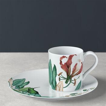 Taza de café con plato Avarua, 210ml, blanco/multicolor