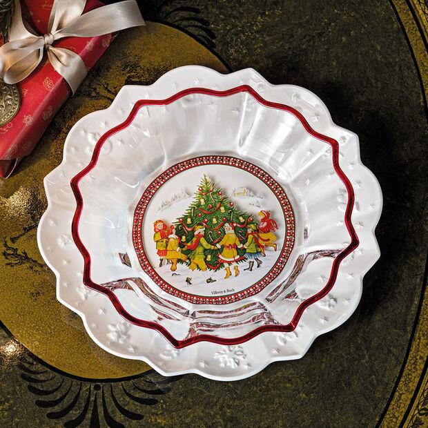 Christmas Glass Accessories ciotola girotondo intorno all'albero, trasparente/multicolore, 25 cm, 850 ml, , large