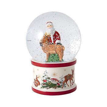 Christmas Toys bola de nieve grande con Papá Noel y ciervo, 13 x 13 x 17 cm
