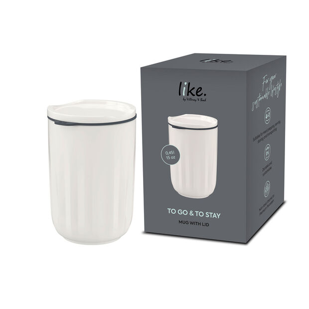 To Go & To Stay bicchiere, con coperchio, 450ml, bianco, , large