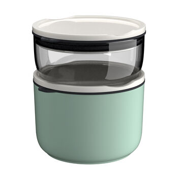 ToGo&ToStay set porta pranzo, 2 pezzi, vetro, grigio/verde menta