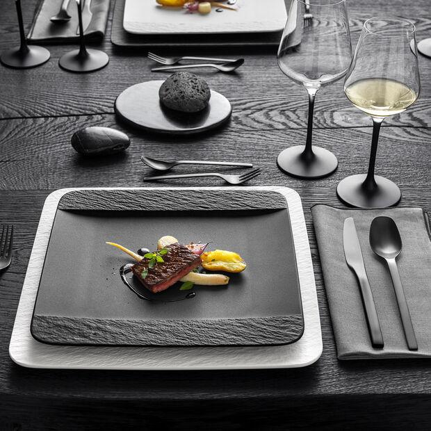 Manufacture Rock piatto piano quadrato, nero/grigio, 28 x 28 x 2 cm, , large