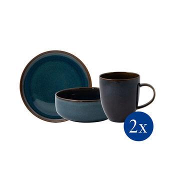 Crafted Denim set de desayuno, azul, 6 artículos