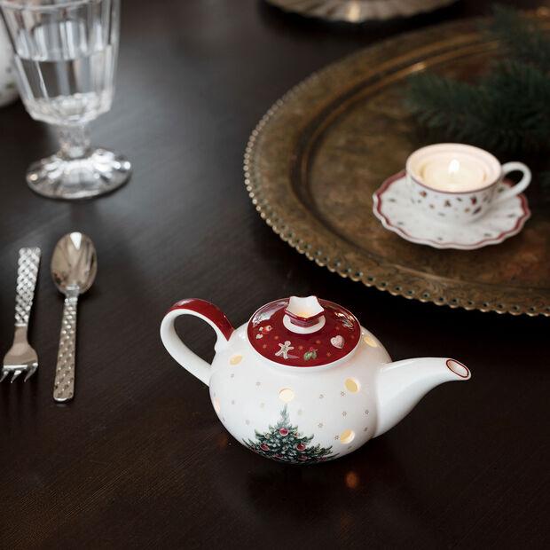 Toy's Delight Decoration caffettiera portacandeline, bianco/rosso, 16 x 9,5 x 9 cm, , large