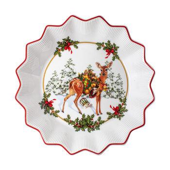 Toy's Fantasy ciotola piccola cerbiatto con regali, multicolore/rossa/bianca, 16,5 x 16,5 x 3 cm