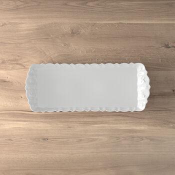 Toy's Delight Royal Classic plato rectangular de tarta, blanco, 40 x 16 cm