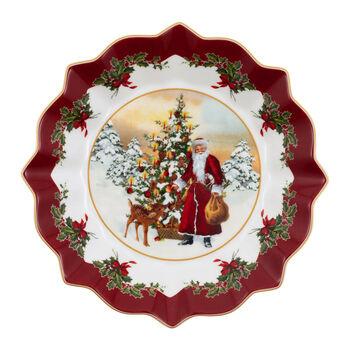 Toy's Fantasy ciotola grande Babbo Natale e albero, multicolore/rossa/bianca, 25 x 25 x 4 cm