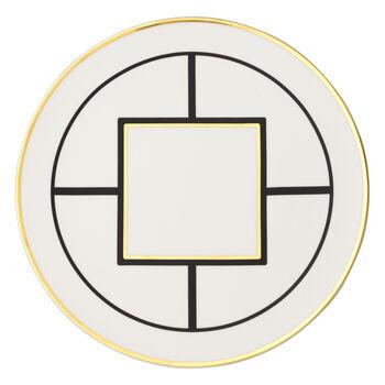 MetroChic piatto segnaposto e piatto da torta, diametro 33 cm, bianco-nero-oro