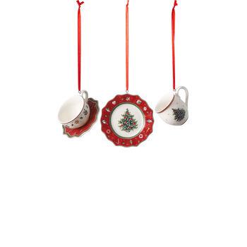 Toy's Delight Decoration set di stoviglie da decorazione, rosso, 4 x 7 cm, 3 pezzi