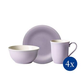 Color Loop Blue Blossom set da colazione, viola, 12 pezzi