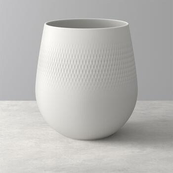 Manufacture Collier blanc Vaso Carré grande 20,5x20,5x22,5cm
