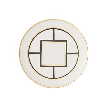 MetroChic plato de postre y desayuno, diámetro de 22 cm, blanco, negro y oro