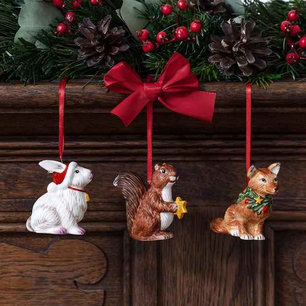 Nostalgic Ornaments set di addobbi animali del bosco, 6 x 7 cm, 3 pezzi, , large