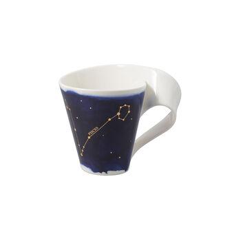 NewWave Stars taza con motivo de Piscis, 300 ml, azul/blanco