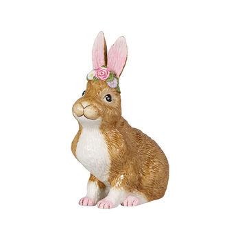 Easter Bunnies Coniglietto grande sed c ghirlanda fiori 14x9x19cm