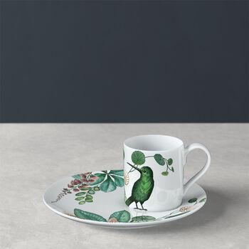 Taza de moca/espresso con plato Avarua, 80 ml, blanco/multicolor