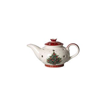 Toy's Delight Decoration portavelas de té con forma de cafetera, blanco/rojo, 16 x 9,5 x 9 cm