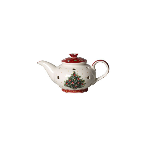 Toy's Delight Decoration portavelas de té con forma de cafetera, blanco/rojo, 16 x 9,5 x 9 cm, , large
