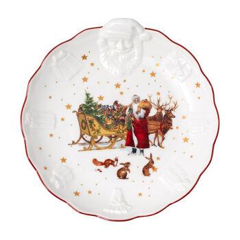 Toy's Fantasy ciotola con rilievo di Babbo Natale Nostalgia, multicolore/rossa/bianca, 24 x 25 x 4,6 cm