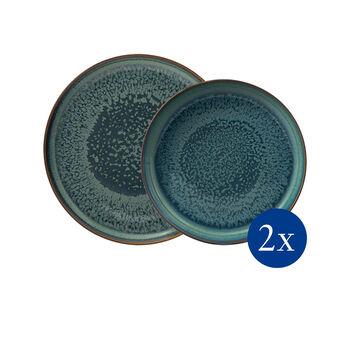 Crafted Breeze set da tavola, grigio-blu, 4 pezzi