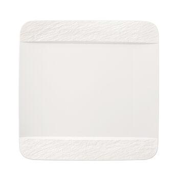 Manufacture Rock Blanc piatto piano rettangolare, bianco, 28 x 28 x 2 cm