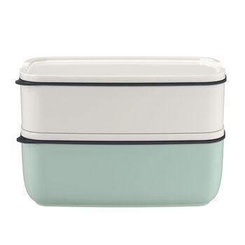 ToGo&ToStay set porta pranzo, 2 pezzi, quadrato, bianco/verde menta