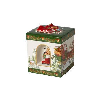 Christmas Toy's figura de paquete de regalo grande y cuadrado Santa Claus, 16 x 16 x 20 cm