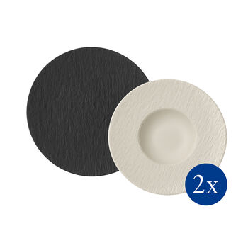 Manufacture Rock set da pasta, 4 pezzi, per 2 persone, nero/bianco