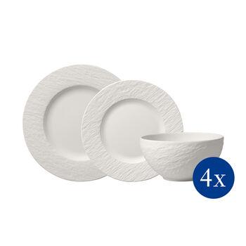 Manufacture Rock blanc Set di piatti, 12 pz., 4 persone