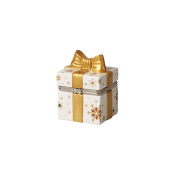 Christmas Toy's figura de paquete de regalo rectangular, oro/blanco, 7 x 6 x 9cm