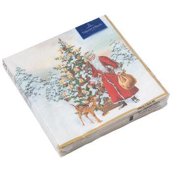 Winter Specials Tovagliolo L Babbo Natale con abete ross 33x33cm, 20 pezzi
