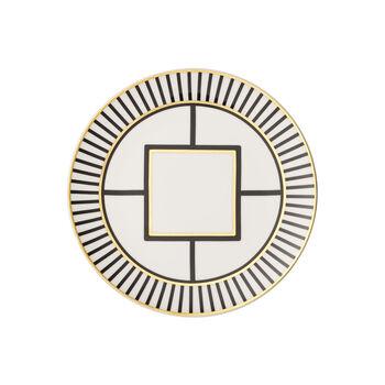 MetroChic piatto da dessert e da colazione, bianco-nero-oro