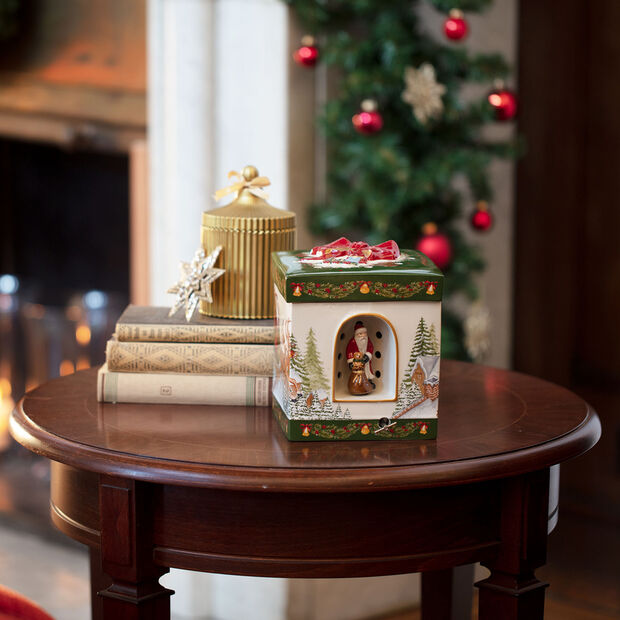 Christmas Toy's figura de paquete de regalo grande y cuadrado Santa Claus, 16 x 16 x 20 cm, , large